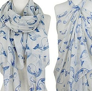 NEW whale print scarf cover up
